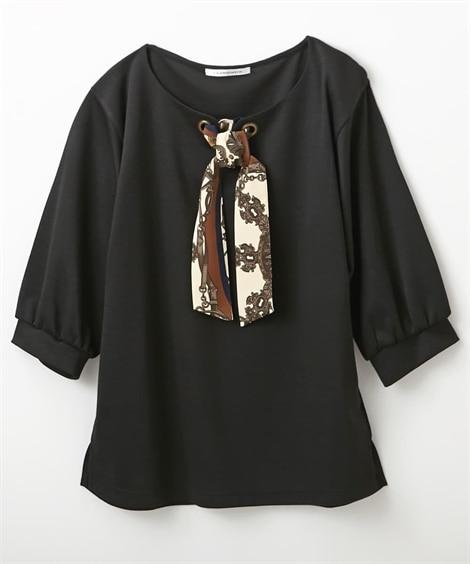 前スカーフ柄リボン付トップス (Tシャツ・カットソー)(レデ...