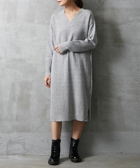 深Vネックニットワンピース (ワンピース)Dress, ?衣...
