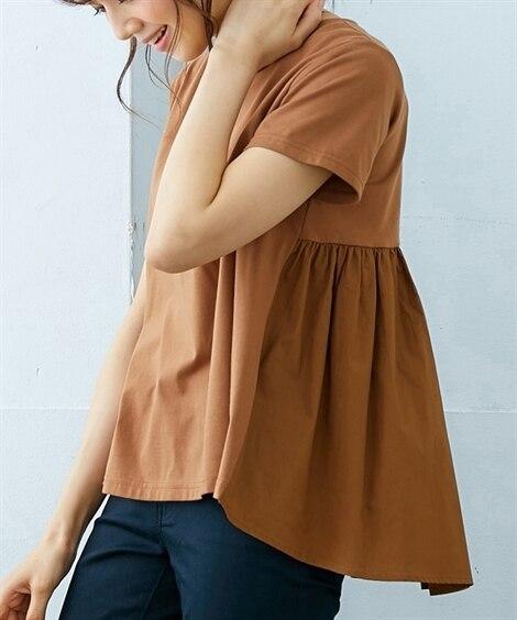 バックギャザーTシャツ (Tシャツ・カットソー)(レディース...