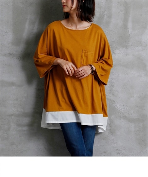 【ゆったりワンサイズ】裾重ね着風ゆるトップス Tシャツ・カッ...