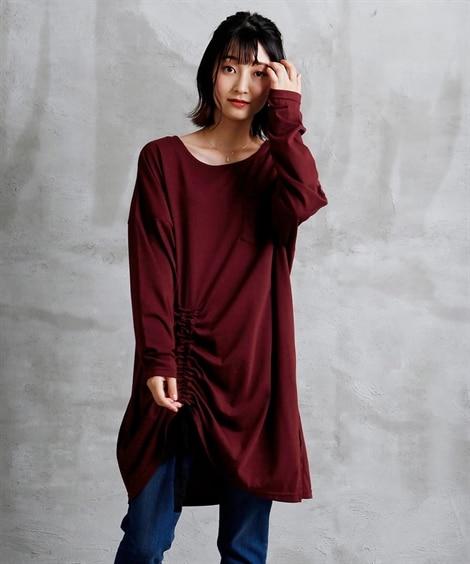 【ゆったりワンサイズ】リボンシャーリングロング丈トップス (...