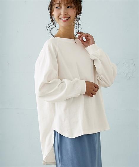 【プチプライス】綿100%裾ラウンドTシャツ (Tシャツ・カットソー)(レディース)T-shirts,