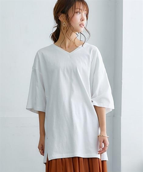 【プチプライス】綿100%Vネック5分袖裾スリット入プルオーバー (Tシャツ・カットソー)(レディース)T-shirts,