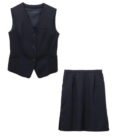 【事務服。ベストスーツ】2点セット(ベスト+タイトスカート)...