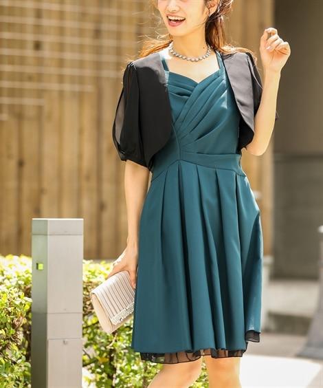 2点セット(カシュクールワンピースドレス+シフォンボレロ) ...