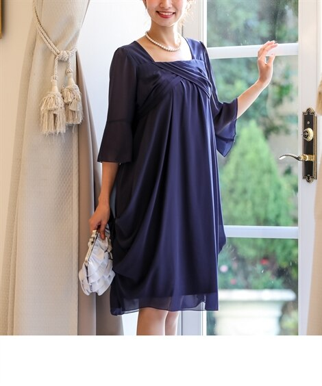 両脇ドレープシフォンワンピースドレス 【結婚式・二次会・謝恩...