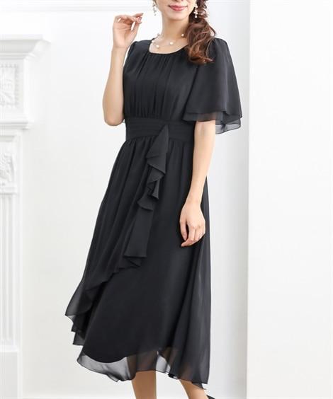 裾イレギュラーシフォンワンピースドレス【結婚式。二次会。お呼...