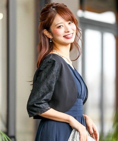 袖レース使いノーカラーボレロ 【結婚式・二次会・謝恩会・パー...