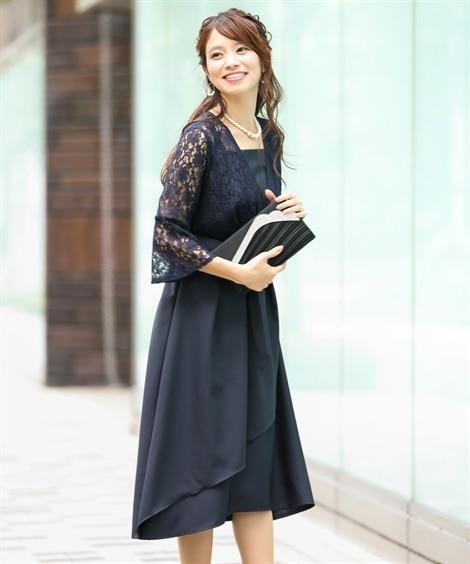 前開きレースフィッシュテールワンピースドレス【結婚式。二次会...