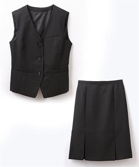 新入荷あり!【事務服。ベストスーツ】2点セット(ベスト+ボックスプリーツスカート)(抗菌消臭テープ付)スカートポケットあり Women's suits