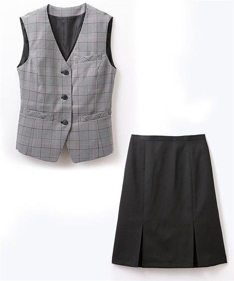 【事務服。ベストスーツ】2点セット(ベスト+ボックスプリーツスカート)(防汚加工。抗菌消臭テープ付)スカートポケットあり Women's suits