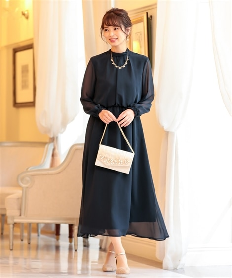 後ろリボンデザインロングワンピースドレス【結婚式。二次会。お...