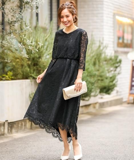 総レース裾スカラップワンピースドレス【結婚式。二次会。お呼ば...