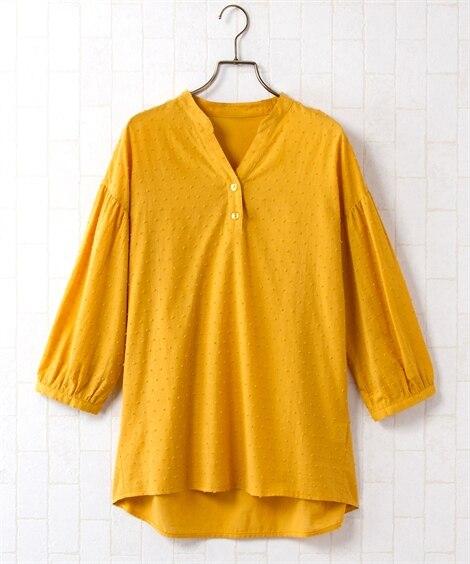 <ニッセン> 綿100%カットドビー衿なしスキッパーブラウス (大きいサイズレディース)ブラウスplus size
