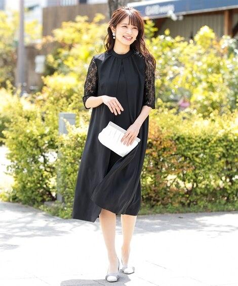 スタンドカラー袖レースワンピースドレス【セミフォーマル。結婚...