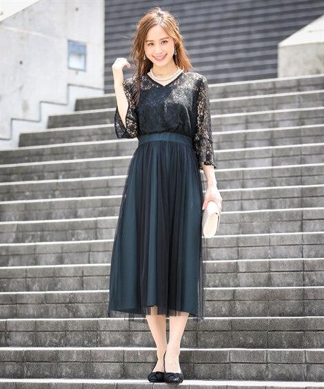 レース切替チュールスカートワンピースドレス【結婚式。二次会。...