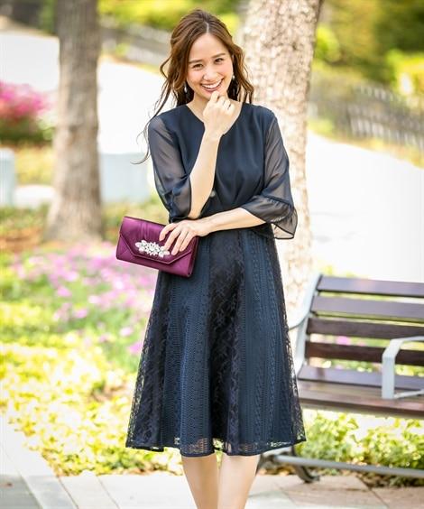 パッチワークレーススカート使いVネックワンピースドレス【結婚...