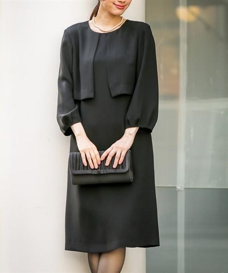 【喪服。礼服】ボレロアンサンブル風デザインワンピース(オール...