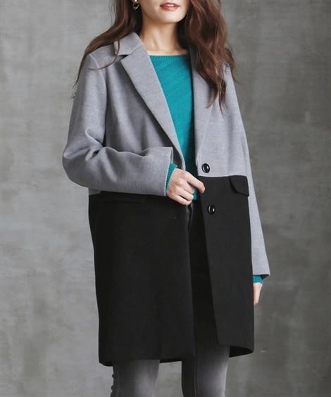 配色切替チェスターコート (大きいサイズレディース)コート,...