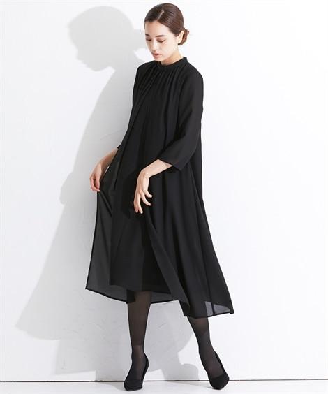【礼服。喪服】日本製生地使用!洗える防しわ加工前開きスタンドカラーデザインワンピース<大きいサイズ有> (ブラックフォーマル)Funeral Outfit