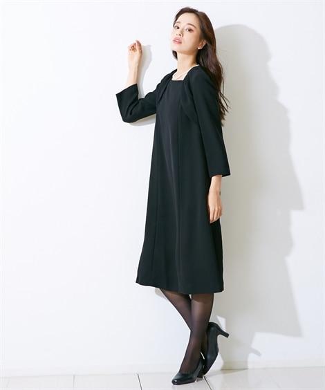【礼服。喪服】洗える防しわ加工アンサンブル風デザインワンピース(オールシーズン対応)<大きいサイズ有> (ブラックフォーマル)funeral outfit, plus size funeral outfit