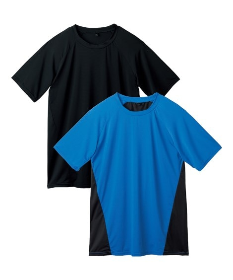 吸汗速乾・接触冷感 背中メッシュクルーネックラグラン半袖2枚組 メンズ下着, Men's Underwear