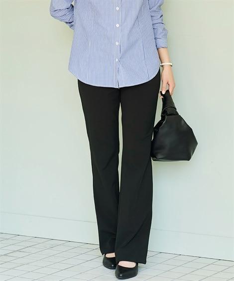 大きいサイズ 股ずれしにくいインナーパンツ付2WAYストレッチブーツカットパンツ(ゆったりヒップ) ,スマイルランド, パンツ, plus size pants