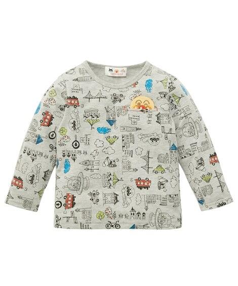 【アンパンマン】かくれんぼポケット総柄長袖Tシャツ(男の子 女の子 ベビー服 子供服) (Tシャツ・カットソー)Kids' T-shirts, T恤