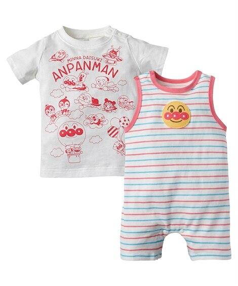 【アンパンマン】Tシャツ+ボーダーカバーオール2点セット(男の子。女の子 子供服。ベビー服) 【ベビー服】Babywear