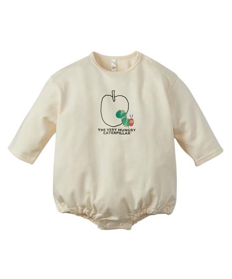 【はらぺこあおむし】コットン 長袖りんご柄ロンパース(男の子。女の子 子供服。ベビー服) 【ベビー服】Babywear