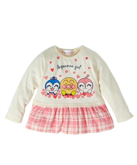 【アンパンマン】裾フリル長袖Tシャツ(女の子 ベビー服 子供服) (Tシャツ・カットソー)Kids' T-shirts