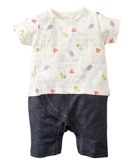 【はらぺこあおむし】デニムニット切替え 半袖カバーオール(ベビー服・子供服 男の子・女の子) 【ベビー服】Babywear
