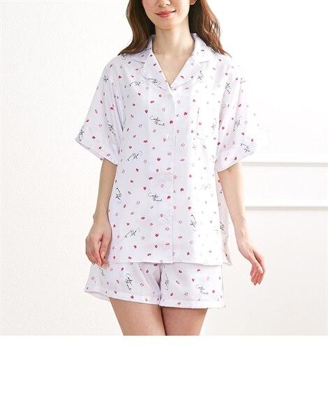 【WEB限定】クッキーブランチ リップス柄半袖シャツショートパンツパジャマ (パジャマ・ルームウェア),Sleepwear