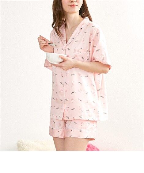 【WEB限定】クッキーブランチ フラミンゴ柄半袖シヤツショートパンツパジャマ (パジャマ・ルームウェア),Sleepwear