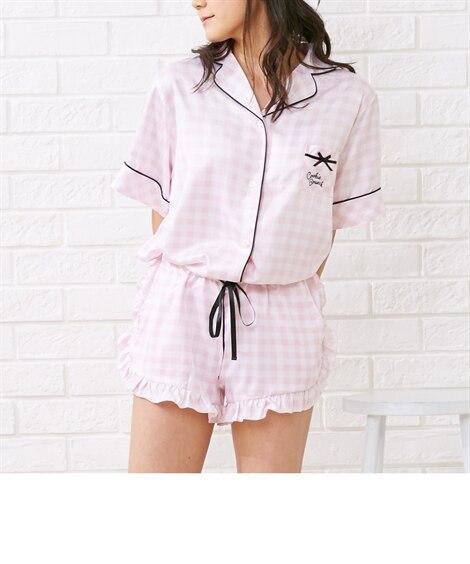 【WEB限定】クッキーブランチ チェック柄半袖シヤツショートパンツパジャマ (パジャマ・ルームウェア),Sleepwear