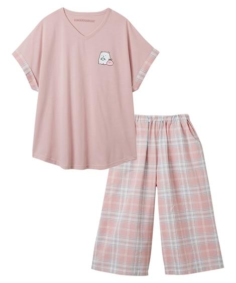 すみっコぐらし 綿混ワンポイントトップス+サッカー素材ボトムルームウェア(3L) (パジャマ・ルームウェア)Pajamas