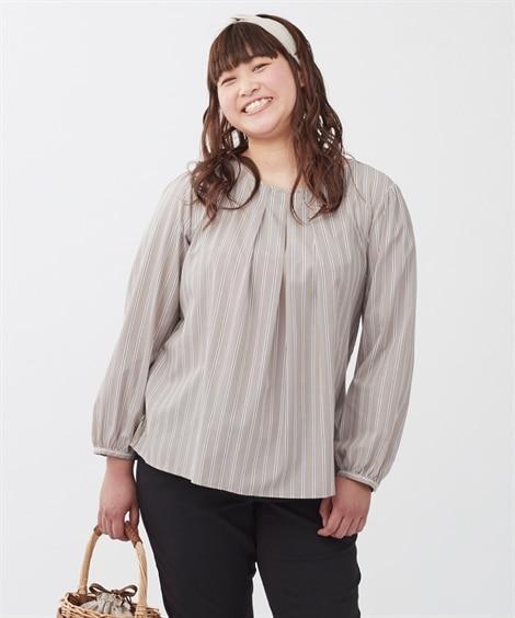 【大きいサイズ】 【フォーエル×スマイルランドコラボ商品】らくちん異素材コンビブラウス(接触冷感。UVカット)  plus size shirts, テレワーク, 在宅, リモート