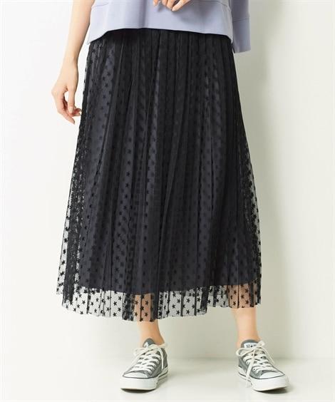 【大きいサイズ】 柄プリントチュールスカート スカート, p...