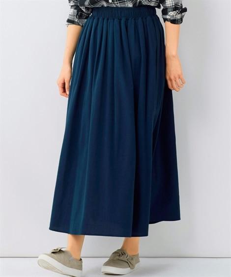 大きいサイズ 軽やかで素材感あふれる綿100%ギャザーたっぷりロングスカート ,スマイルランド, スカート, plus size skirts