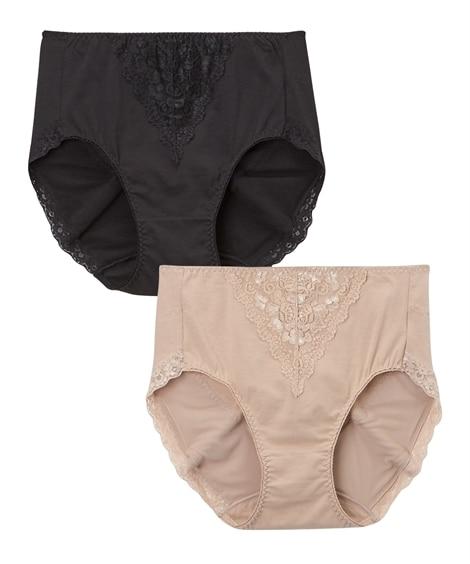 【WEB限定】お尻ソフトサポート 綿混ストレッチ深ばきレーシーショーツ2枚組(3L) サポート・シェイプショーツ, Panties