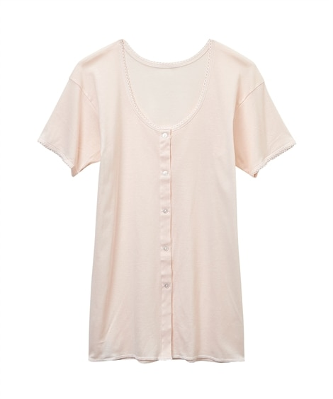【WEB限定】GUNZE 快適工房 日本製 綿100%3分袖前開きボタン付きシャツ(抗菌防臭)(S) (フレンチ袖・半袖・五分袖インナー)Underwear