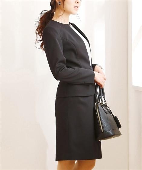 小さいサイズ 洗えるストレッチタイトスカートスーツ(ノーカラ...