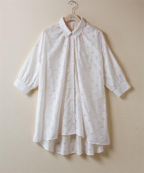 【大きいサイズ】 オパール水玉 ギャザー7分袖チュニックシャ...