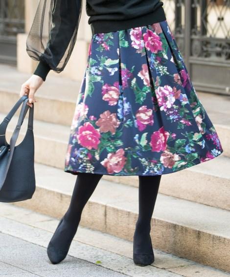 花柄フレアミディ丈スカート (ひざ丈スカート)