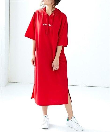 半袖プリントパーカーワンピース (ワンピース),dress