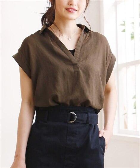 涼しげ透け感素材♪スキッパー衿前タック半袖シャツ (ブラウス...