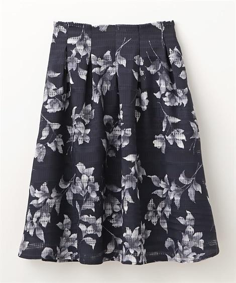 オーガンジーボーダー単色花柄フレアスカート (ひざ丈スカート...