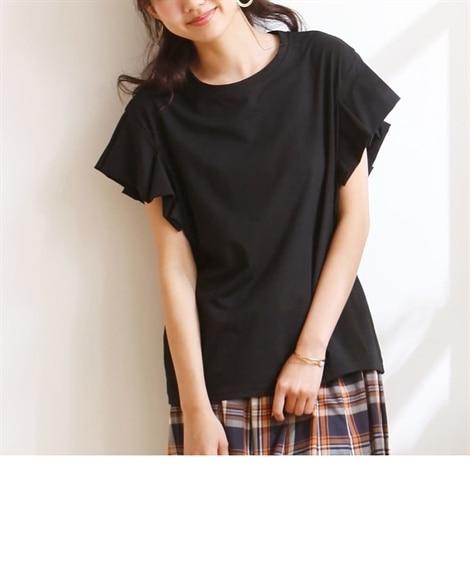 折りたたみフリル袖カットソートップス (Tシャツ・カットソー...
