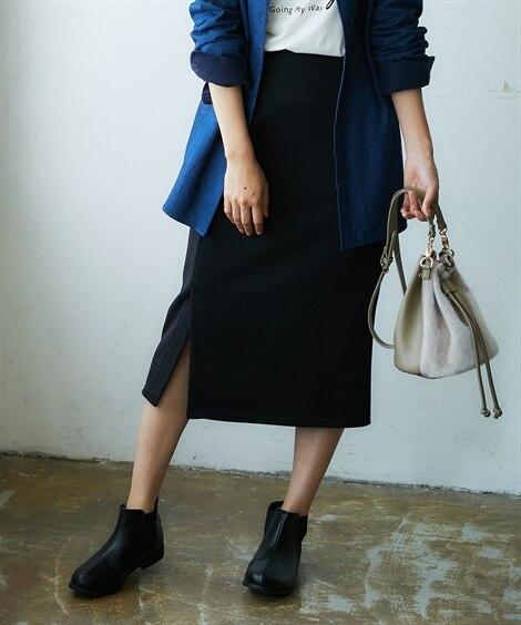 裏フリースカットソー大人Iラインスカート (ひざ丈スカート)...