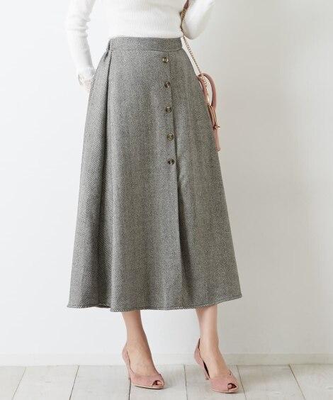 ヘリンボンツィード調フレアロングスカート (ひざ丈スカート)...